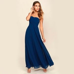 NWT Lulu's Romantic Ballad Strapless Maxi Dress
